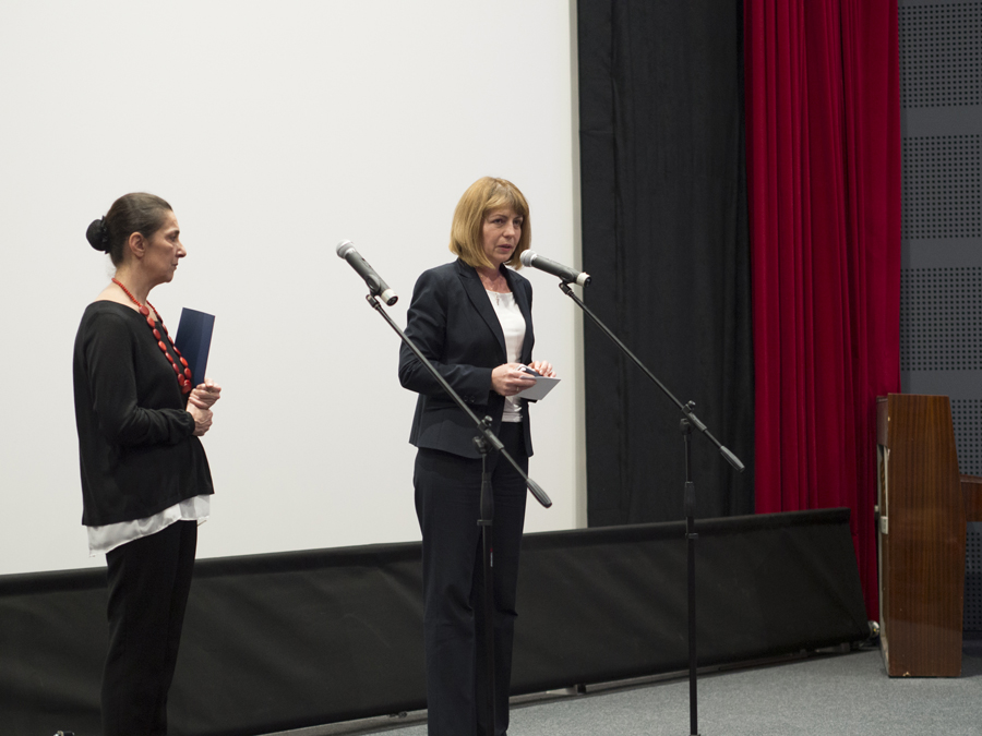 The mayor of Sofia Yordanka Fandukova right and the director of BNFA Antonia Kovacheva at Odeon official opening