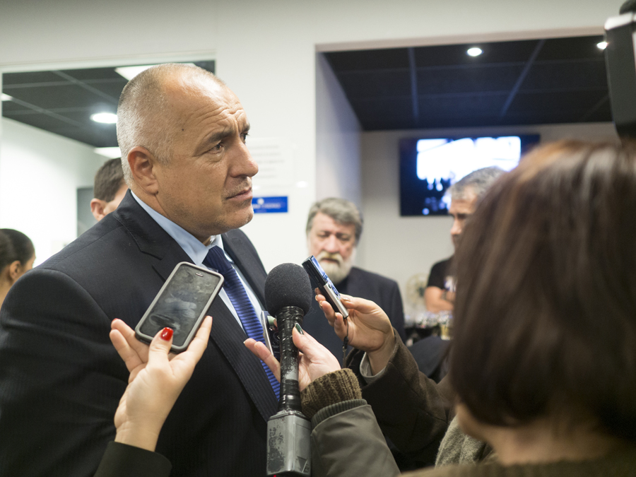 The prime minister Boyko Borisov front and the minister of culture Vezhdi Rashidov at Odeon