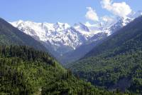 Summer in Svaneti, Georgia. View of Caucasus mountains
