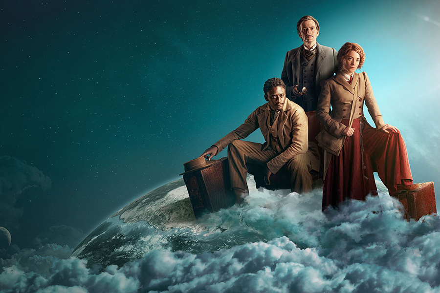 The clock is ticking. Join Phileas Fogg (David Tennant), Passepartout (Ibrahim Koma) and Abigail Fix (Leonie Benesch) on their journey Around the World in 80 Days - coming soon, CREDIT: Photographer: Joe Alblas / Design by TEA Entertain | © Slim 80 Days / Federation Entertainment / Peu Communications / ZDF / Be-Films (RTBF) - 2021
