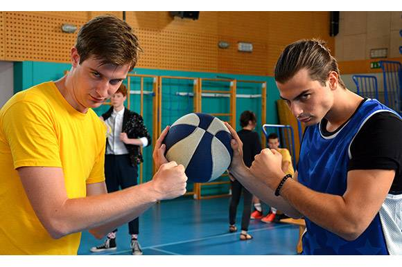 Klemen Kostrevc and Domen Novak in Let Him Be a Basketball Player 2 by Boris Bezić