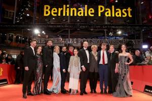 The image shows from left-right, Dawid Ogrodnik (Poland), Kristin Thora Haraldsdóttir (Iceland), Milan Marić (Serbia),  Ine Marie Wilmann (Norway),  Ardalan Esmaili (Sweden), Dieter Kosslick (Festival Director of the Berlin International Film Festival), Emma Drogunova (Germany), Blagoj Veselinov (FYR of Macedonia),  Monika Grütters (German Federal Government Commissioner of Culture and the Media), Elliott Crosset Hove (Denmark), Rea Lest (Estonia),  Aisling Franciosi (Ireland)